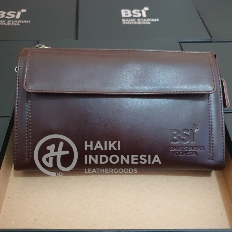 model pouch kulit souvenir promosi untuk nasabah bank indonesia