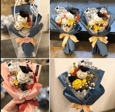 hadiah buket bunga dan boneka